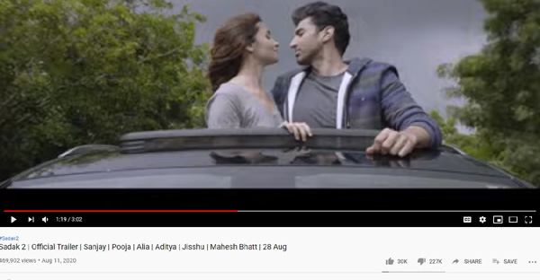Sadak 2 Trailer getting heavily disliked on Youtube and its justified